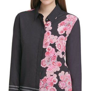 DKNY Womens Blouse Black Pink Size Small L Floral